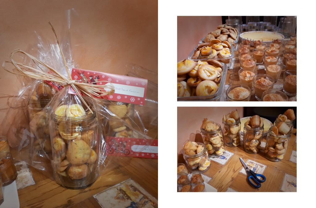 Quelques photos de la confection de paquets avec les gâteaux, étiquettes de Noël