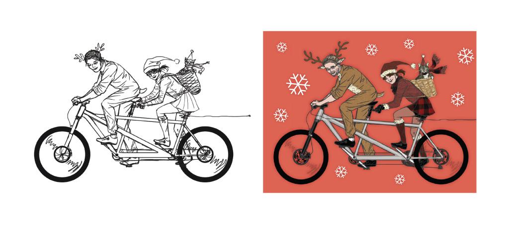 Aperçu de l'illustration avant et après la colorisation, étiquettes de Noêl