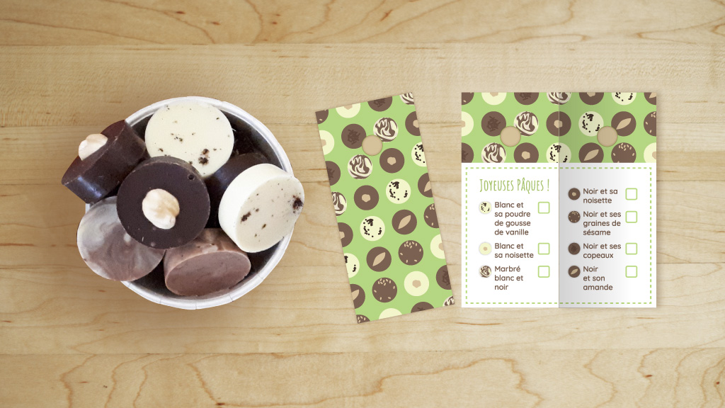 Visuel de la mise en situation d'une étiquette avec les chocolats