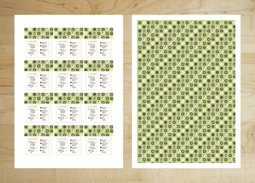 Visuel des planches imprimées avec le recto à gauche et le verso à droite des étiquettes de Pâques