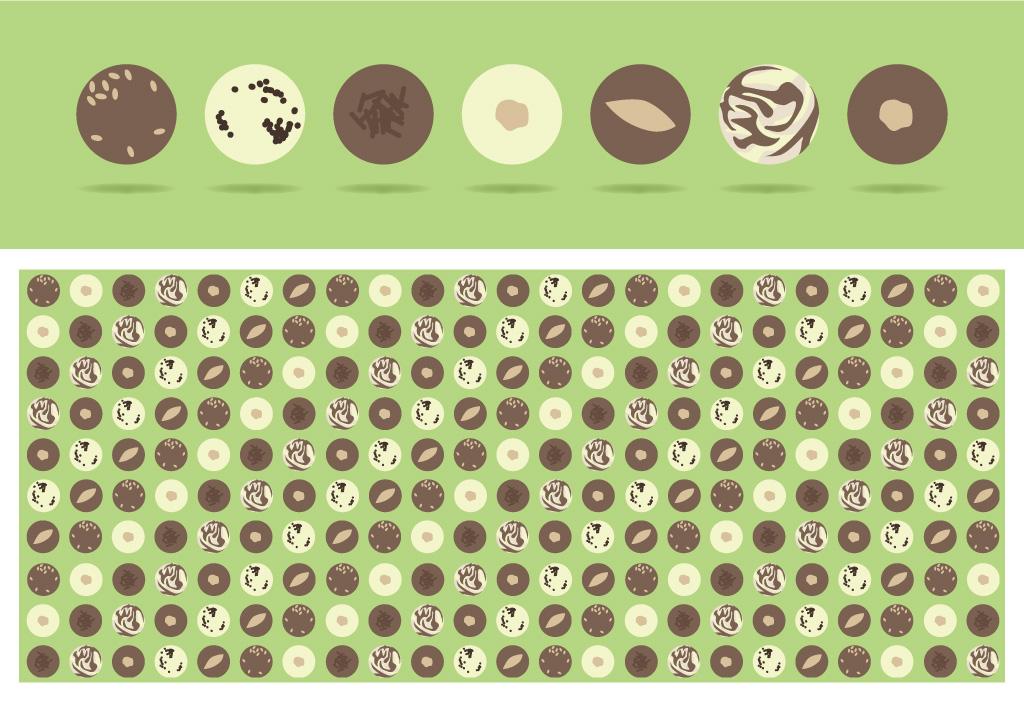Visuel du motif créé à partir des assortiments de chocolats, étiquettes de Pâques