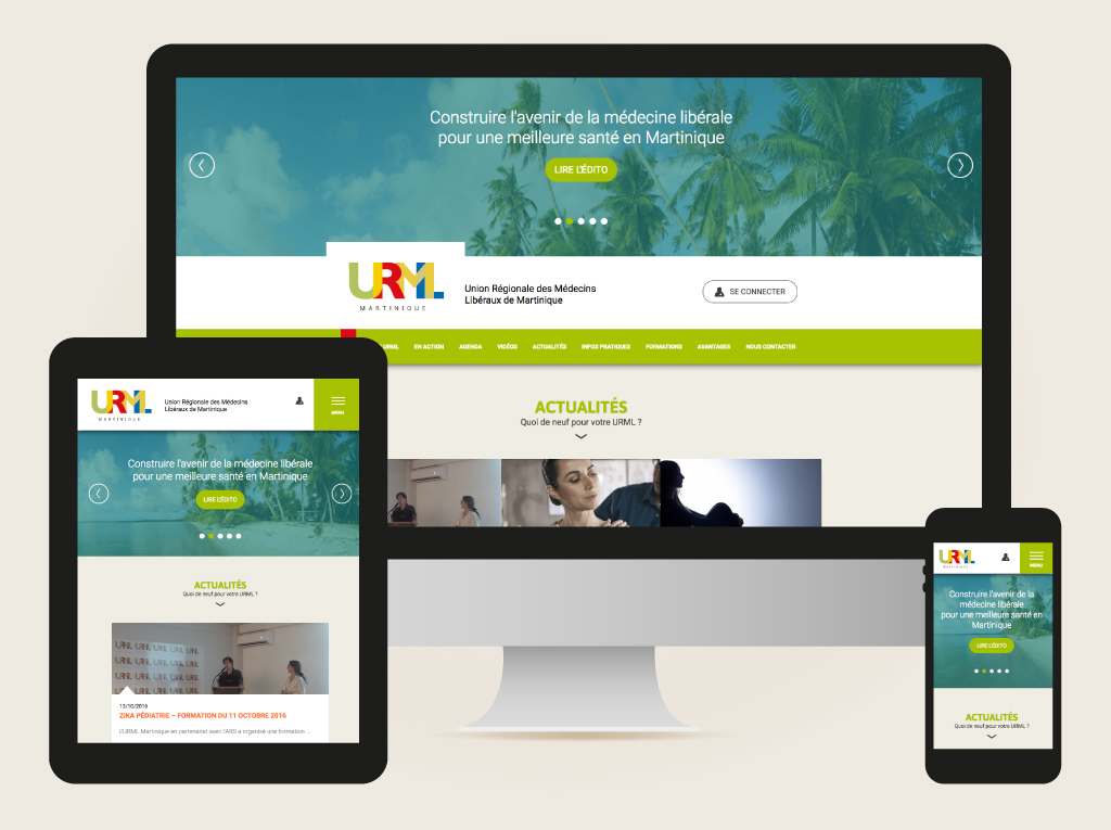 Home page, site web URML Martinique