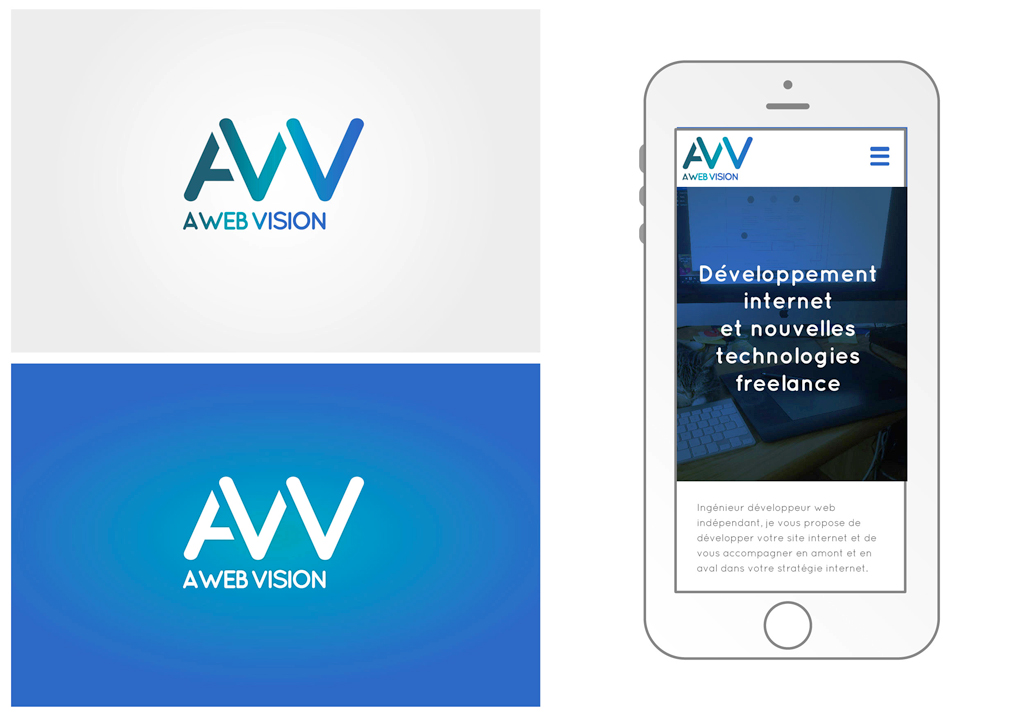 A Web Vision, déclinaisons de couleurs et mise en situation du logo