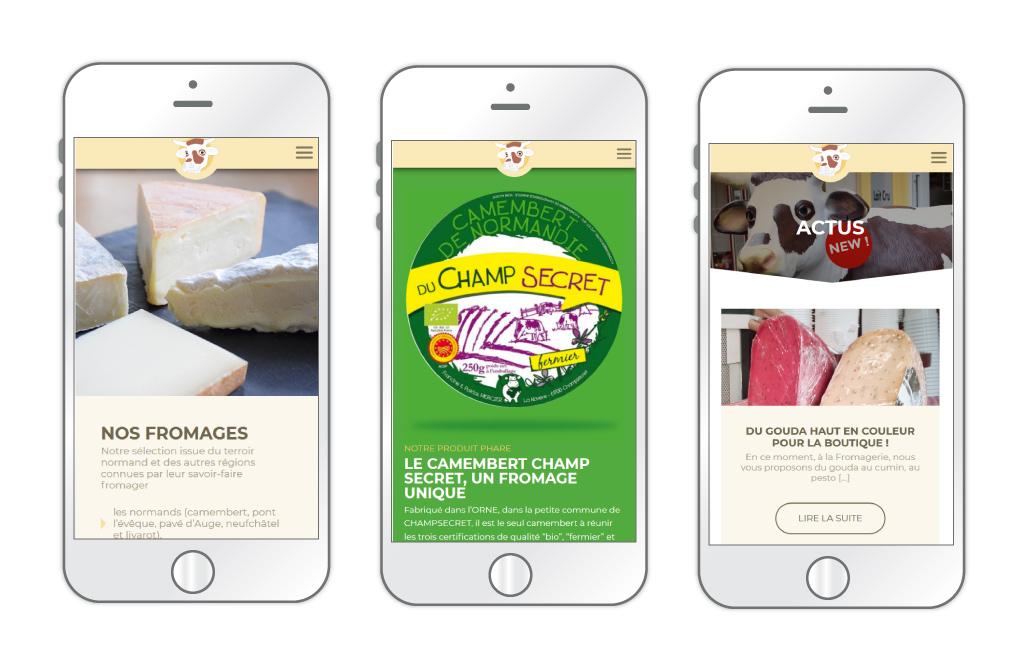 La Fromagerie - site web, aperçus des pages 'Nos produits' et 'actus' sur mobile