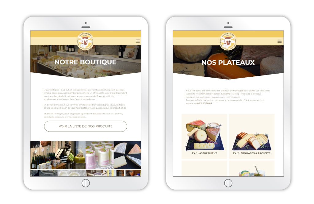La Fromagerie - site web, aperçus des pages 'Notre boutique' et 'Nos plateaux' sur tablette