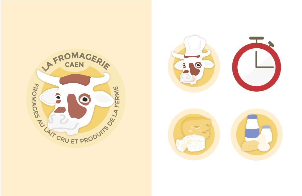 Logo et pictogrammes du site web de La Fromagerie