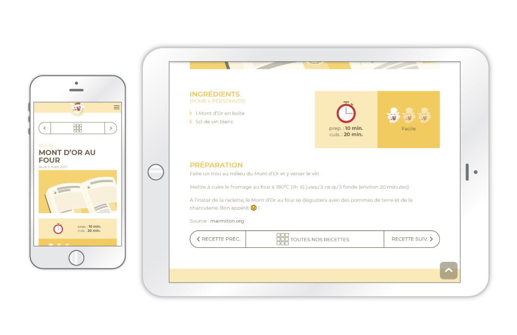 La Fromagerie - site web, aperçu d'une page 'recette' sur mobile et tablette