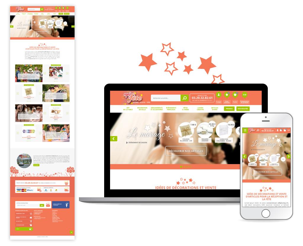 Esprit de fête, site e-commerce - Page d'accueil