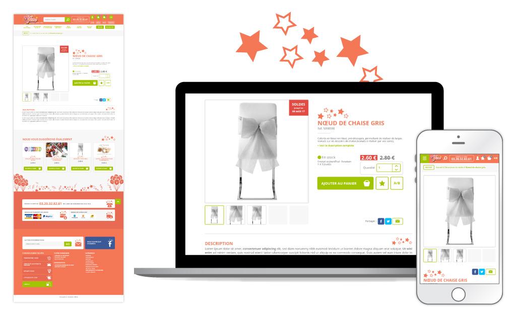 Esprit de fête, site e-commerce - Page produit