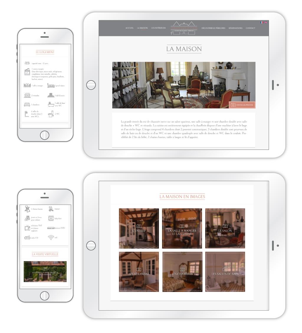 Domaine Jean du Claud - Aperçu de la partie 'La maison', sur tablette et mobile (Sources photos : Domaine Jean du CLAUD)