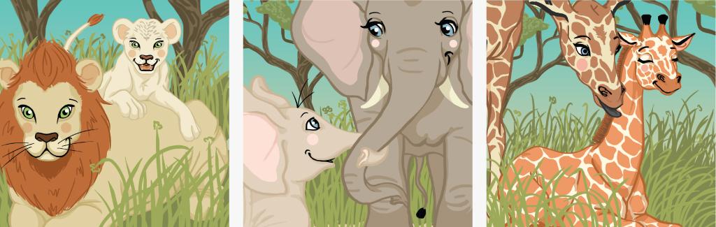 Visuel Illustrations sur le thème des animaux de la savane pour un cadeau de Noël - Décembre 2019