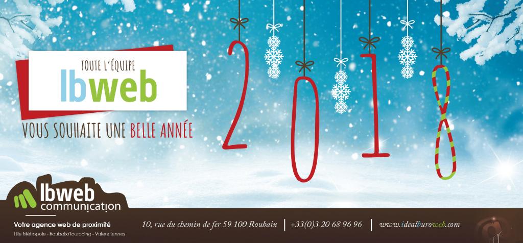 Visuel de la carte de vœux d'IBWeb (print) pour 2018, inspiré de la création graphique de celui de la newsletter