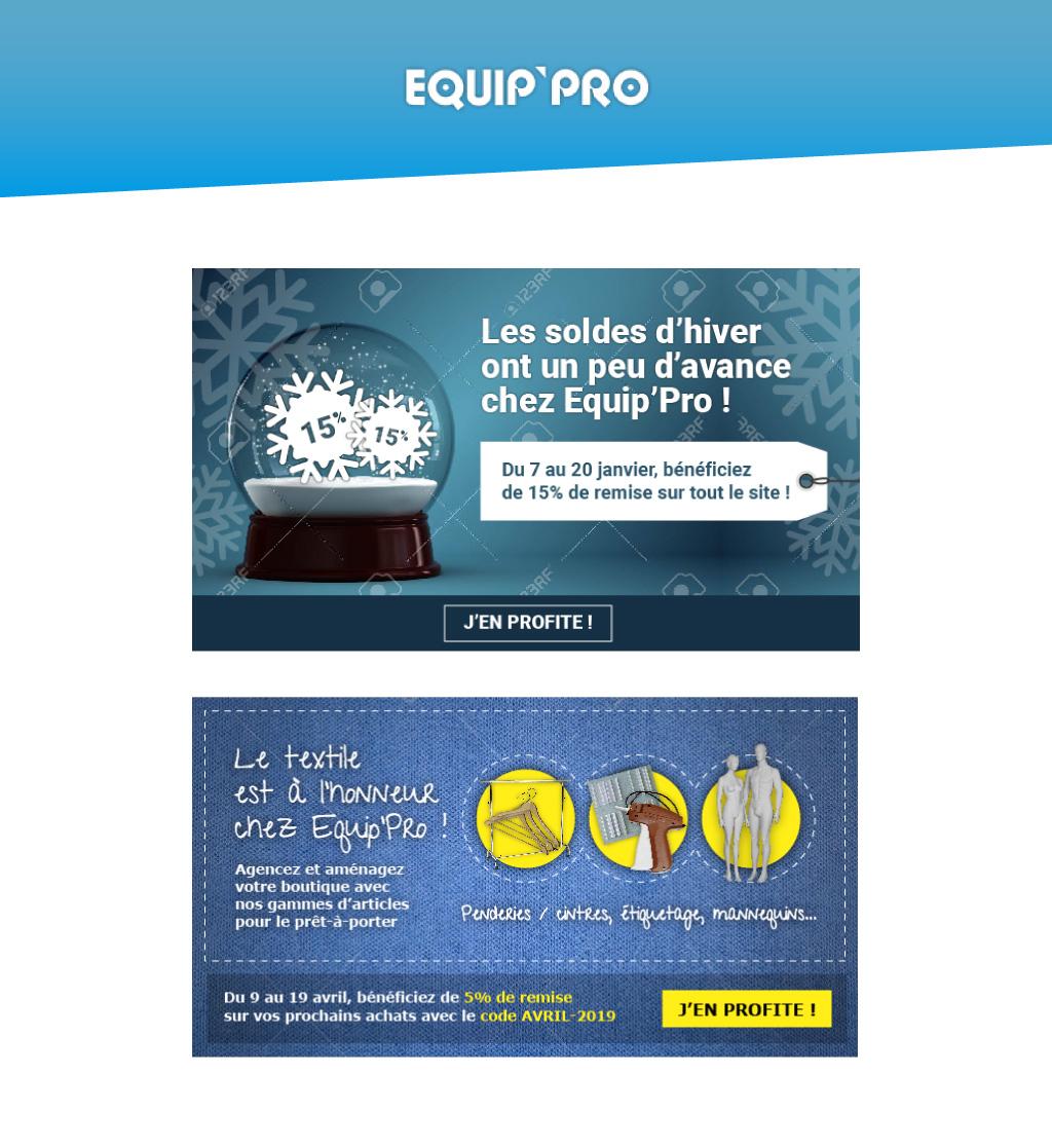 Exemples de bannières de newsletters pour Equip'Pro