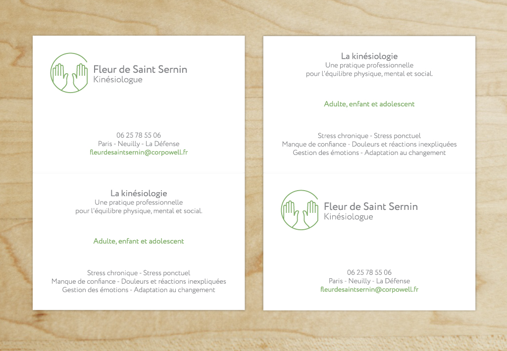 Visuel Carte de visite Fleur de Saint Sernin, kinésiologue - 2019