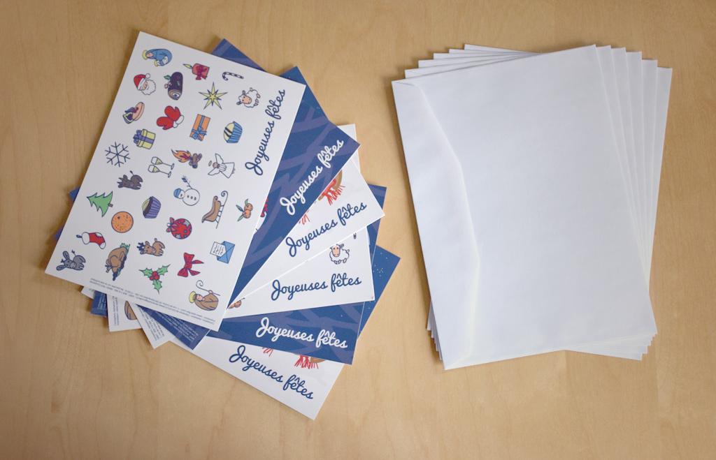 Composition d'un lot : 2 cartes de vœux de chaque modèle + enveloppes